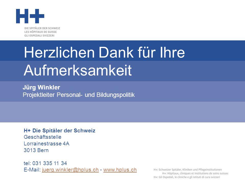 H+ Die Spitäler der Schweiz Geschäftsstelle Lorrainestrasse 4A 3013 Bern tel: 031 335 11 34 E-Mail: juerg.winkler@hplus.ch - www.hplus.chjuerg.winkler