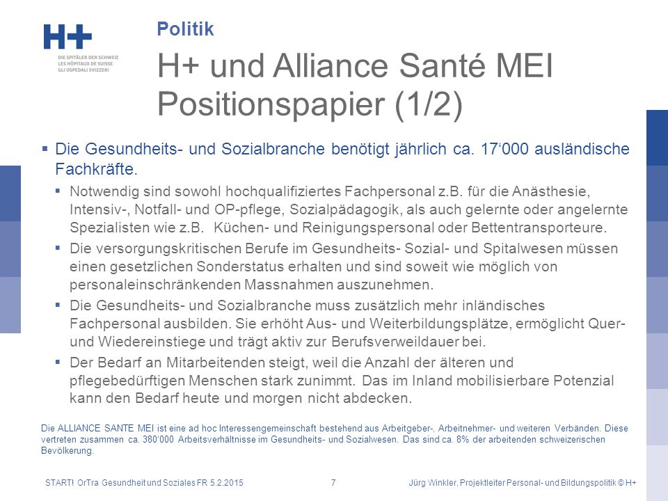H+ und Alliance Santé MEI Positionspapier (1/2)  Die Gesundheits- und Sozialbranche benötigt jährlich ca. 17'000 ausländische Fachkräfte.  Notwendig