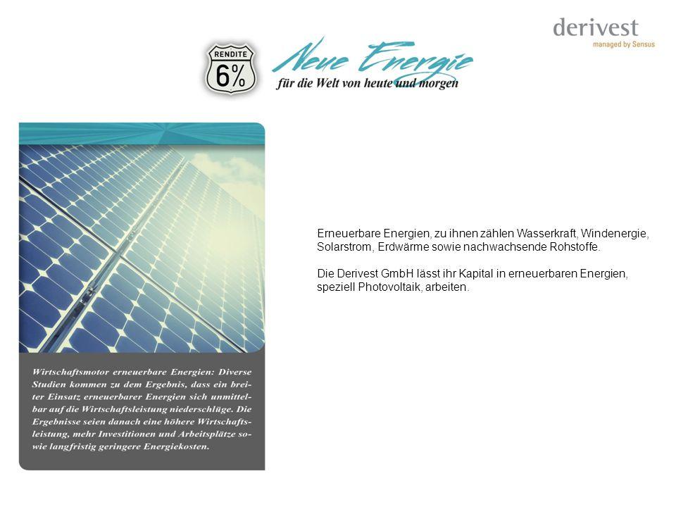 Erneuerbare Energien, zu ihnen zählen Wasserkraft, Windenergie, Solarstrom, Erdwärme sowie nachwachsende Rohstoffe. Die Derivest GmbH lässt ihr Kapita