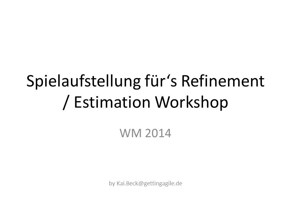 Spielaufstellung für's Refinement / Estimation Workshop WM 2014 by Kai.Beck@gettingagile.de