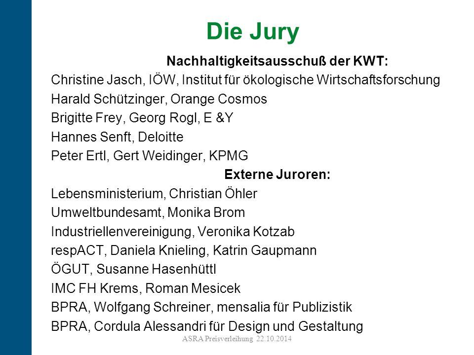 10 Die Jury Nachhaltigkeitsausschuß der KWT: Christine Jasch, IÖW, Institut für ökologische Wirtschaftsforschung Harald Schützinger, Orange Cosmos Bri