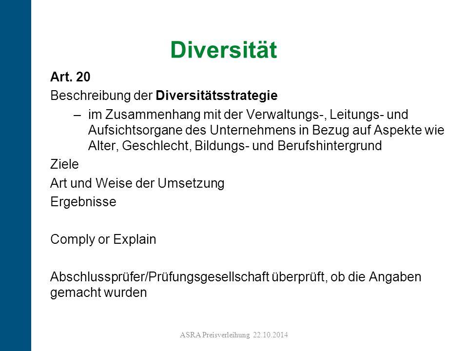 18 Diversität Art. 20 Beschreibung der Diversitätsstrategie –im Zusammenhang mit der Verwaltungs-, Leitungs- und Aufsichtsorgane des Unternehmens in B