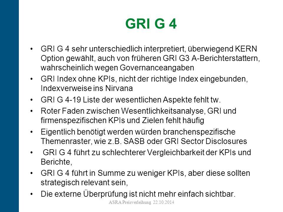 22 GRI G 4 sehr unterschiedlich interpretiert, überwiegend KERN Option gewählt, auch von früheren GRI G3 A-Berichterstattern, wahrscheinlich wegen Governanceangaben GRI Index ohne KPIs, nicht der richtige Index eingebunden, Indexverweise ins Nirvana GRI G 4-19 Liste der wesentlichen Aspekte fehlt tw.