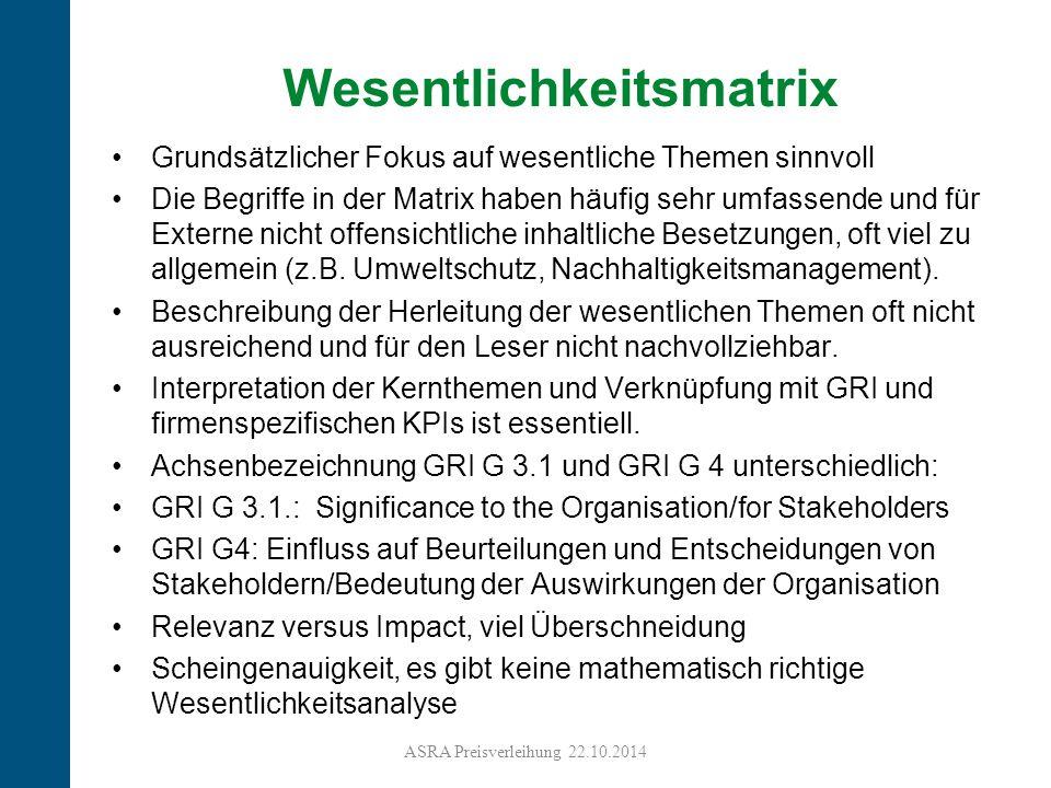 23 Grundsätzlicher Fokus auf wesentliche Themen sinnvoll Die Begriffe in der Matrix haben häufig sehr umfassende und für Externe nicht offensichtliche inhaltliche Besetzungen, oft viel zu allgemein (z.B.