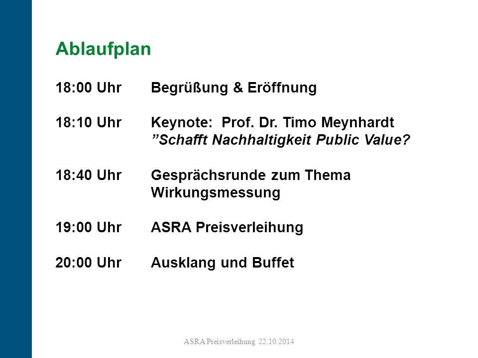 """3 Ablaufplan 18:00 Uhr Begrüßung & Eröffnung 18:10 Uhr Keynote: Prof. Dr. Timo Meynhardt """"Schafft Nachhaltigkeit Public Value? 18:40 Uhr Gesprächsrund"""