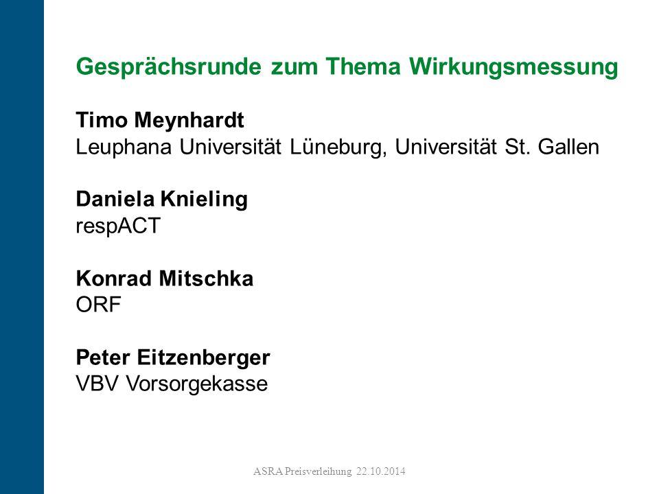 6 Gesprächsrunde zum Thema Wirkungsmessung Timo Meynhardt Leuphana Universität Lüneburg, Universität St. Gallen Daniela Knieling respACT Konrad Mitsch