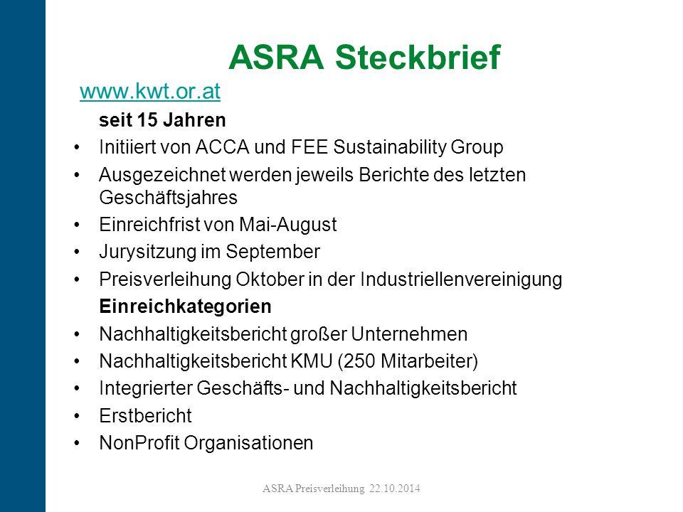 8 ASRA Steckbrief www.kwt.or.at seit 15 Jahren Initiiert von ACCA und FEE Sustainability Group Ausgezeichnet werden jeweils Berichte des letzten Gesch