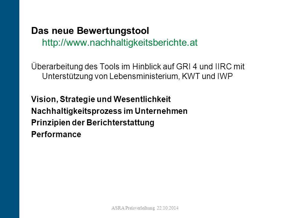 9 Das neue Bewertungstool http://www.nachhaltigkeitsberichte.at Überarbeitung des Tools im Hinblick auf GRI 4 und IIRC mit Unterstützung von Lebensministerium, KWT und IWP Vision, Strategie und Wesentlichkeit Nachhaltigkeitsprozess im Unternehmen Prinzipien der Berichterstattung Performance ASRA Preisverleihung 22.10.2014