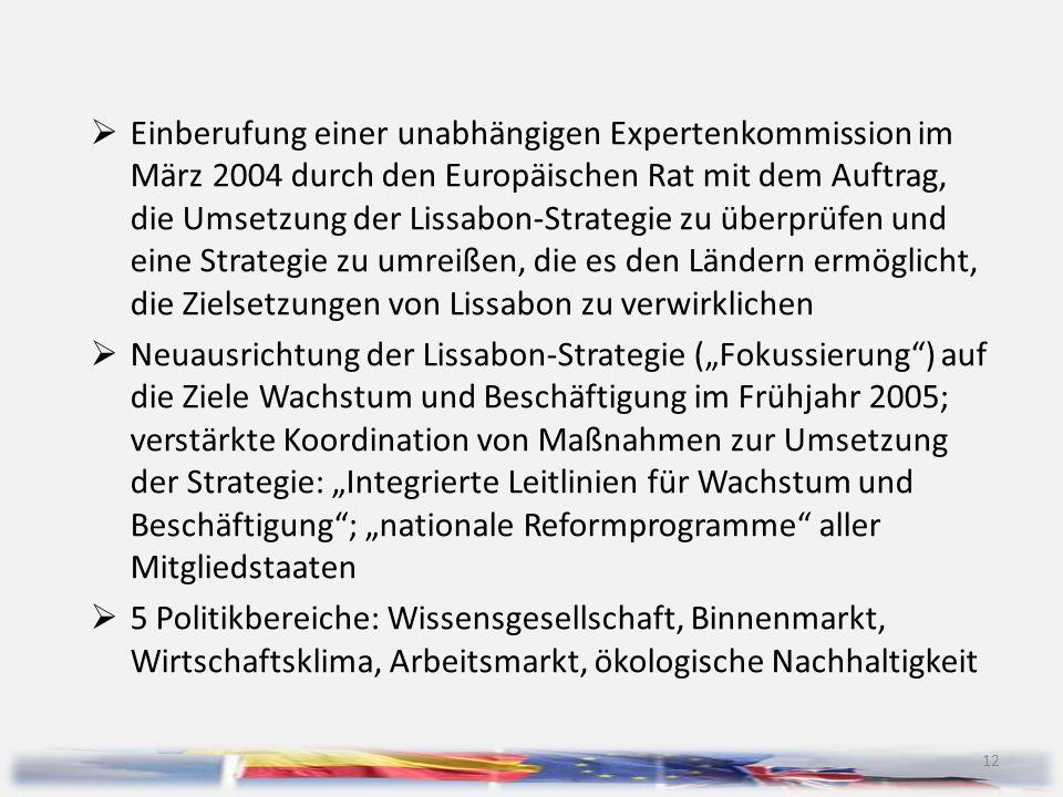 12  Einberufung einer unabhängigen Expertenkommission im März 2004 durch den Europäischen Rat mit dem Auftrag, die Umsetzung der Lissabon-Strategie z