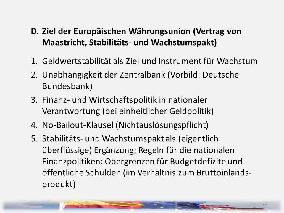 20 D.Ziel der Europäischen Währungsunion (Vertrag von Maastricht, Stabilitäts- und Wachstumspakt) 1.Geldwertstabilität als Ziel und Instrument für Wac
