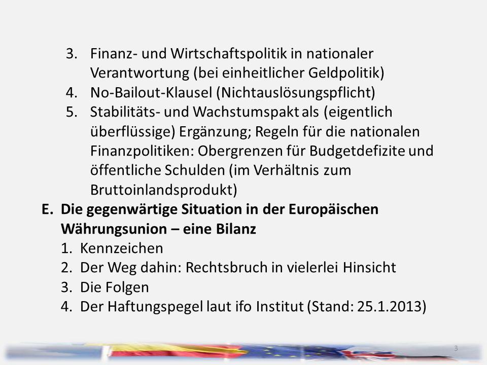 4 F.Zwei Visionen von Europa G.Das künftige Europa: Szenarien für die Währungsunion, für die EU bzw.