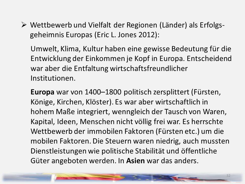 32  Wettbewerb und Vielfalt der Regionen (Länder) als Erfolgs- geheimnis Europas (Eric L. Jones 2012): Umwelt, Klima, Kultur haben eine gewisse Bedeu