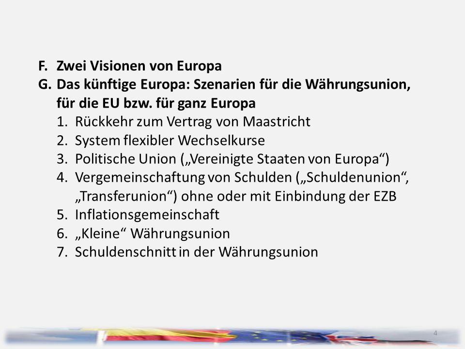 4 F.Zwei Visionen von Europa G.Das künftige Europa: Szenarien für die Währungsunion, für die EU bzw. für ganz Europa 1.Rückkehr zum Vertrag von Maastr