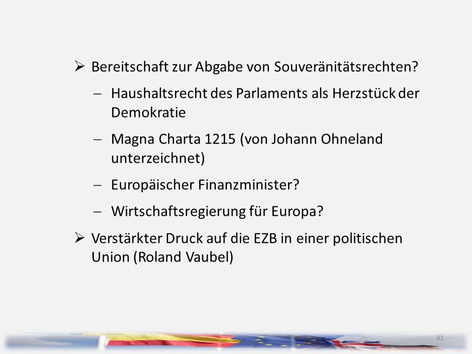 41  Bereitschaft zur Abgabe von Souveränitätsrechten?  Haushaltsrecht des Parlaments als Herzstück der Demokratie  Magna Charta 1215 (von Johann Oh