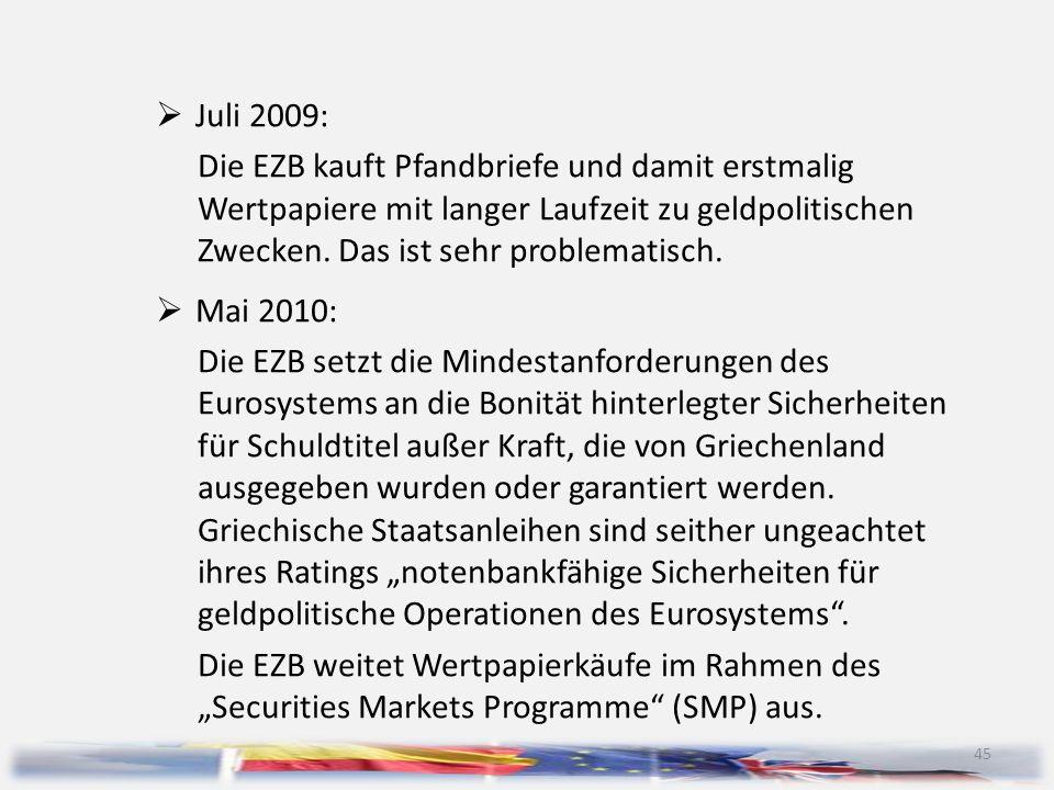 45  Juli 2009: Die EZB kauft Pfandbriefe und damit erstmalig Wertpapiere mit langer Laufzeit zu geldpolitischen Zwecken. Das ist sehr problematisch.