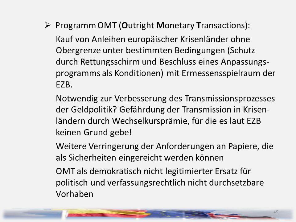 49  Programm OMT (Outright Monetary Transactions): Kauf von Anleihen europäischer Krisenländer ohne Obergrenze unter bestimmten Bedingungen (Schutz d