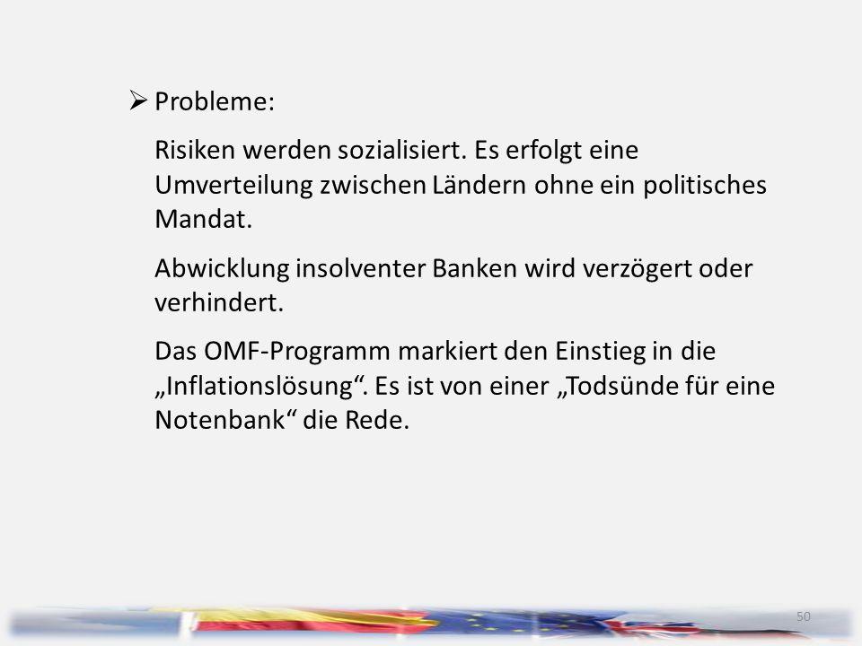 50  Probleme: Risiken werden sozialisiert. Es erfolgt eine Umverteilung zwischen Ländern ohne ein politisches Mandat. Abwicklung insolventer Banken w