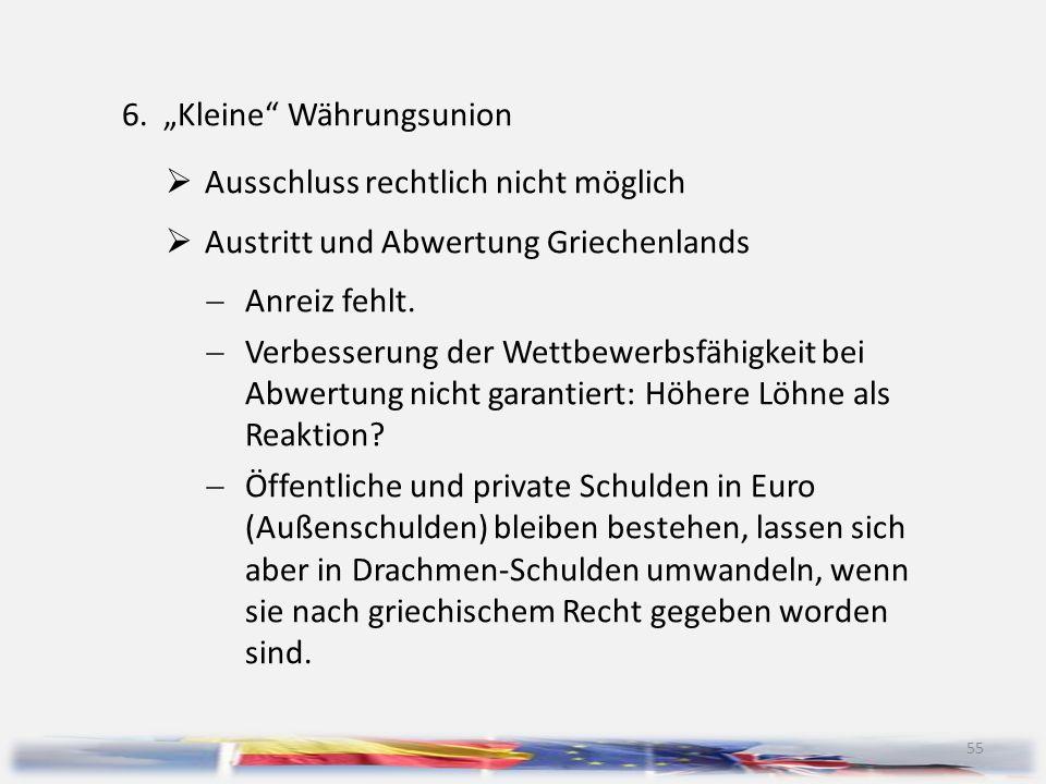 """55 6.""""Kleine"""" Währungsunion  Ausschluss rechtlich nicht möglich  Austritt und Abwertung Griechenlands  Anreiz fehlt.  Verbesserung der Wettbewerbs"""
