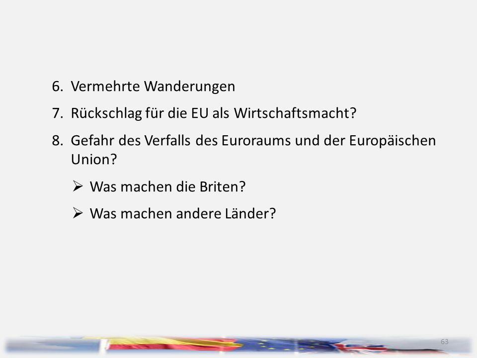 63 6.Vermehrte Wanderungen 7.Rückschlag für die EU als Wirtschaftsmacht? 8.Gefahr des Verfalls des Euroraums und der Europäischen Union?  Was machen