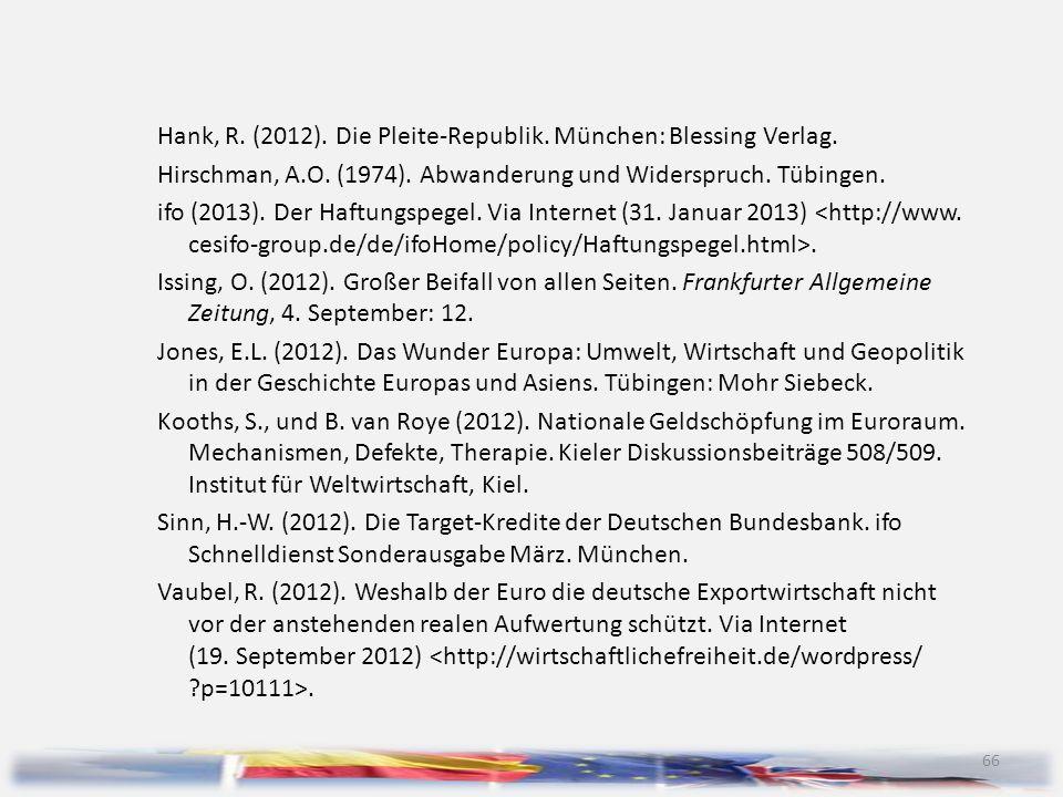 66 Hank, R. (2012). Die Pleite-Republik. München: Blessing Verlag. Hirschman, A.O. (1974). Abwanderung und Widerspruch. Tübingen. ifo (2013). Der Haft