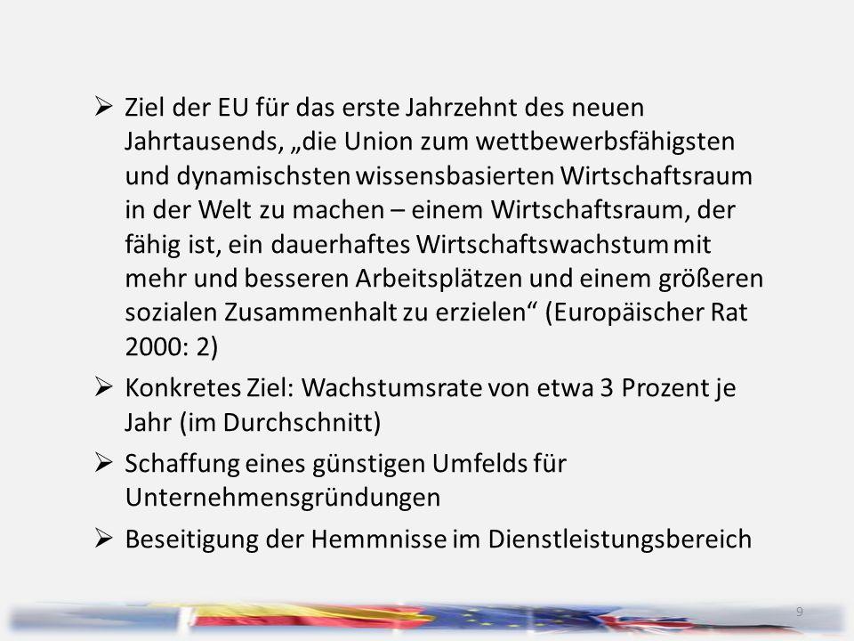 """9  Ziel der EU für das erste Jahrzehnt des neuen Jahrtausends, """"die Union zum wettbewerbsfähigsten und dynamischsten wissensbasierten Wirtschaftsrau"""