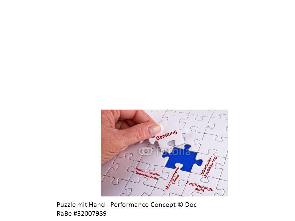 Management- Tools Kontinuierliche Unterstützung Mitarbeiter- Qualifizierung Zertifizierungs- audit Beratung Puzzle mit Hand - Performance Concept © Do