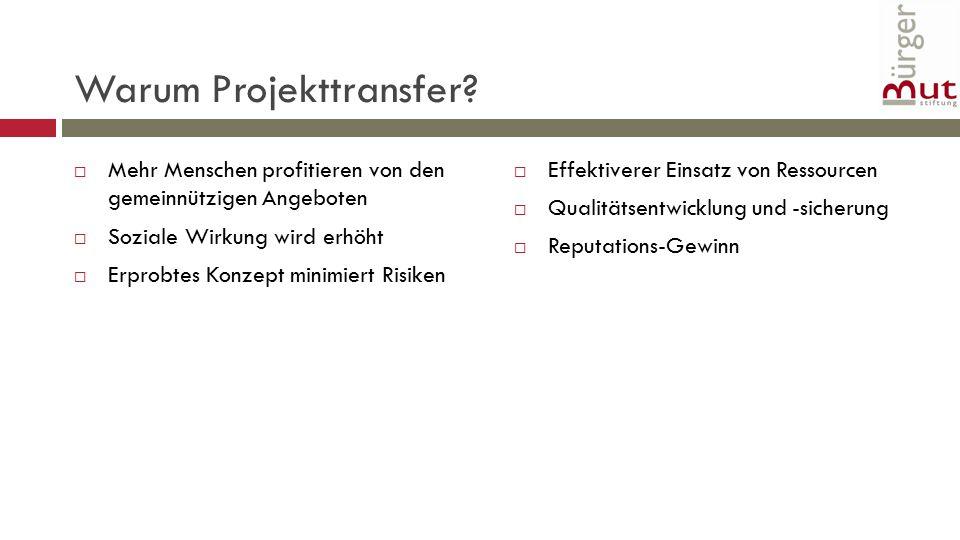Warum transferieren. Warum Projekttransfer.