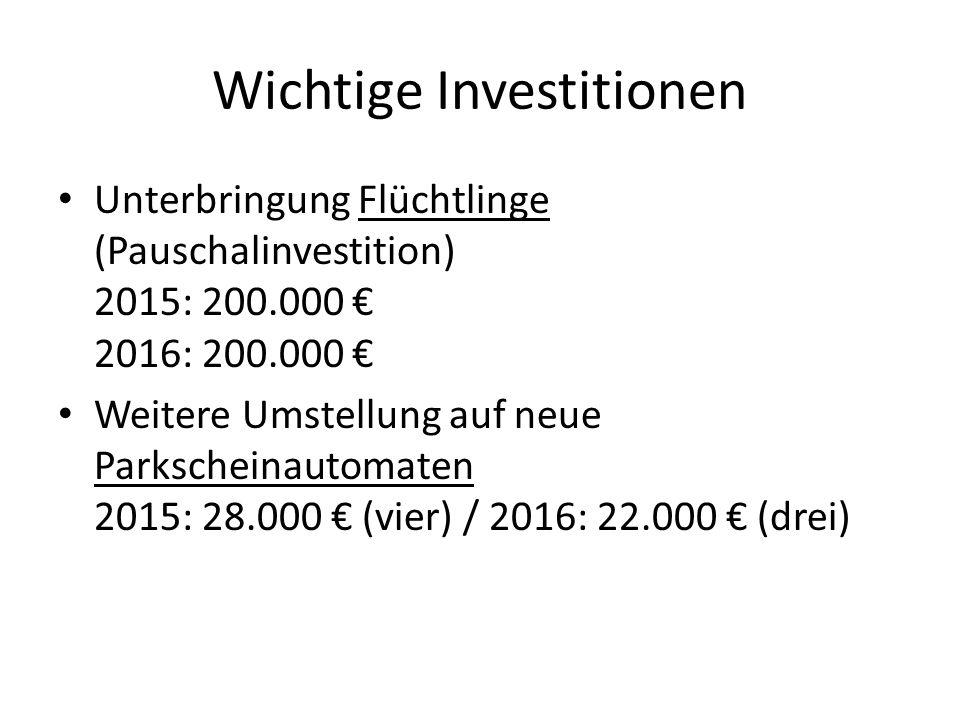 Wichtige Investitionen Stadtentwicklung - Gehwegsanierung Frankfurter Straße 2015: 50.000 €; 2016: 50.000 € - Straßenerschließung Quellenpark 2015: 500.000 €; 2016: 800.000 € - Erschließung Altenheim Am Hang 2015: 85.000 € - Zufahrt Schwimmbad Massenheimer Weg 2016: 500.000 €
