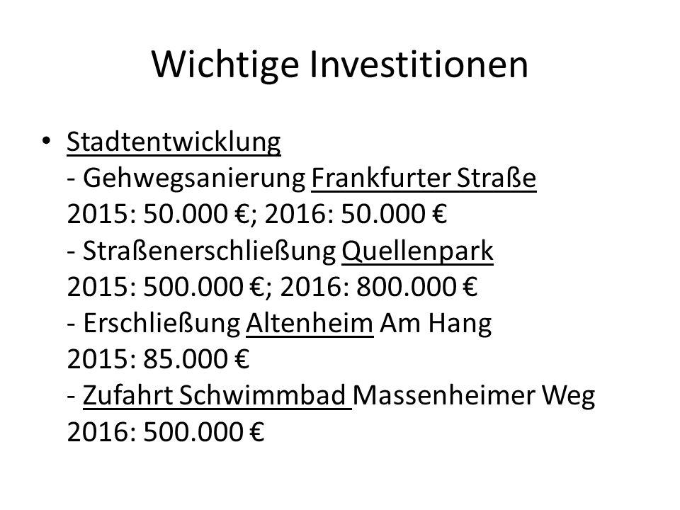 Wichtige Investitionen Stadtentwicklung - Gehwegsanierung Frankfurter Straße 2015: 50.000 €; 2016: 50.000 € - Straßenerschließung Quellenpark 2015: 50