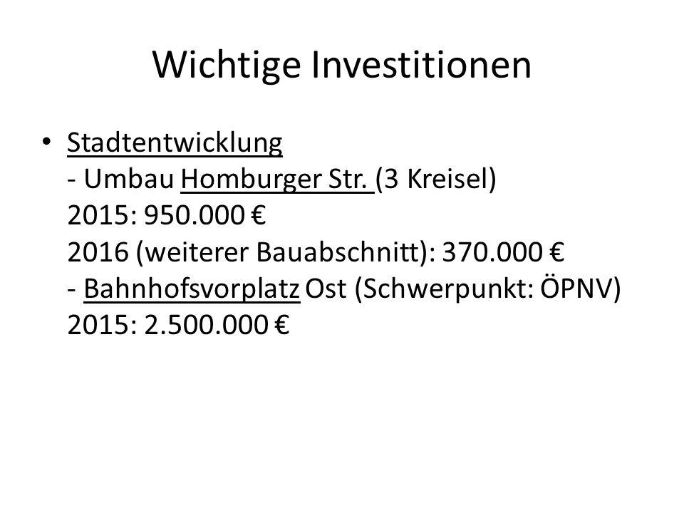 Wichtige Investitionen Kanal - Entwässerung / Kanal Quellenpark 2015: 150.000 €; 2016: 150.000 € - Sanierung Friedensstr.