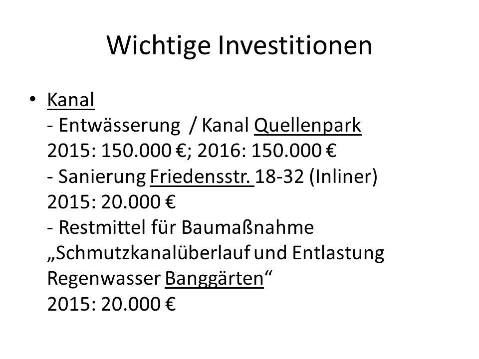 Wichtige Investitionen Kanal - Entwässerung / Kanal Quellenpark 2015: 150.000 €; 2016: 150.000 € - Sanierung Friedensstr. 18-32 (Inliner) 2015: 20.000