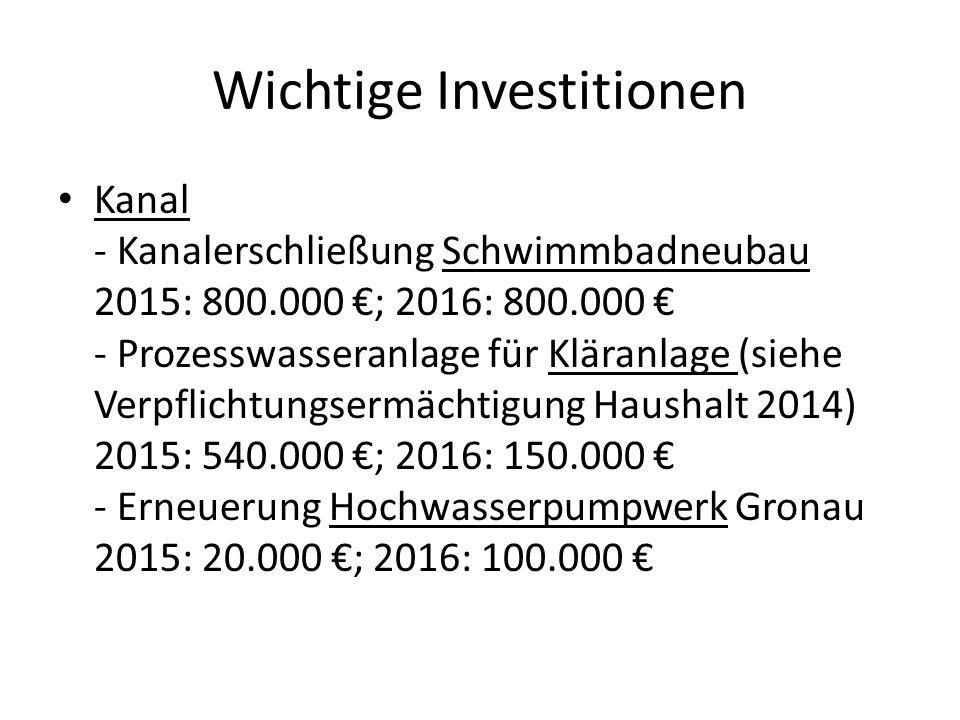 Wichtige Investitionen Kanal - Kanalerschließung Schwimmbadneubau 2015: 800.000 €; 2016: 800.000 € - Prozesswasseranlage für Kläranlage (siehe Verpfli
