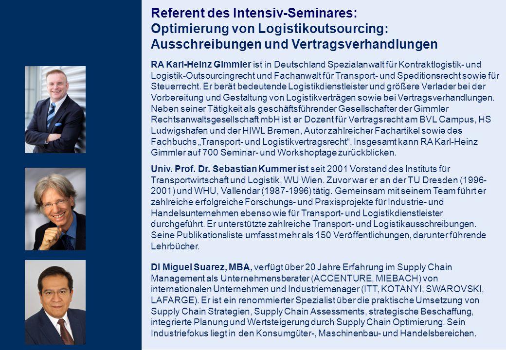 6 RA Karl-Heinz Gimmler ist in Deutschland Spezialanwalt für Kontraktlogistik- und Logistik-Outsourcingrecht und Fachanwalt für Transport- und Spediti