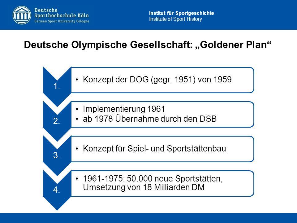 """Institut für Sportgeschichte Institute of Sport History Deutsche Olympische Gesellschaft: """"Goldener Plan"""" 1. Konzept der DOG (gegr. 1951) von 1959 2."""