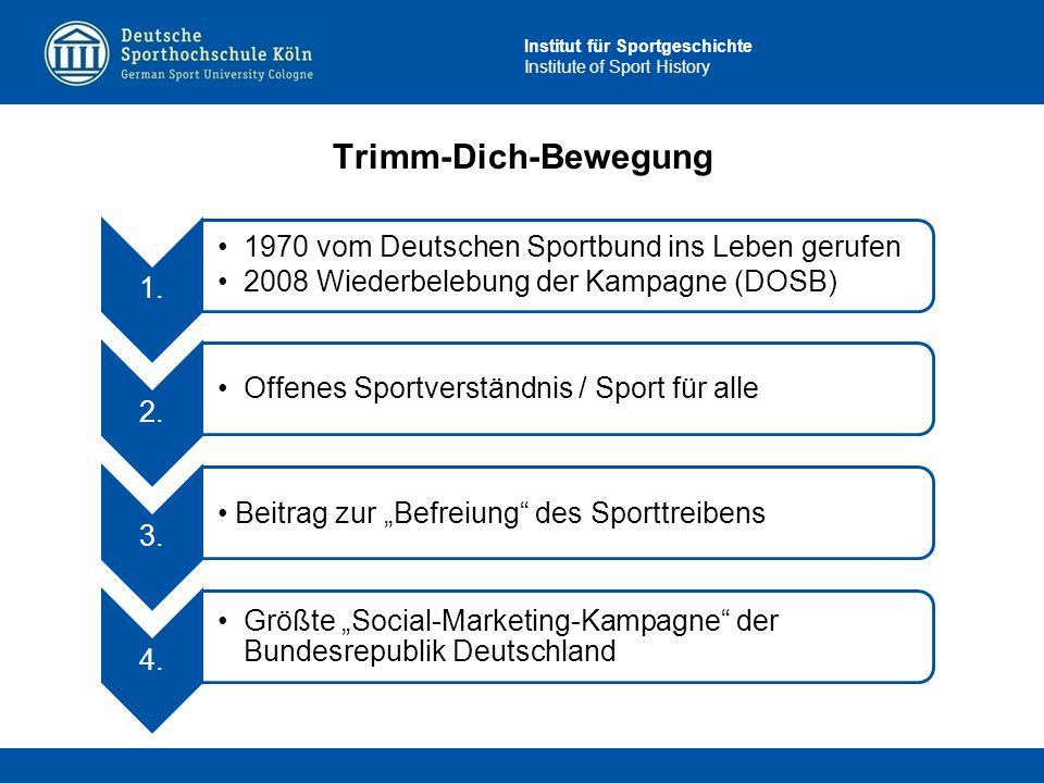 Institut für Sportgeschichte Institute of Sport History Trimm-Dich-Bewegung 1. 1970 vom Deutschen Sportbund ins Leben gerufen 2008 Wiederbelebung der