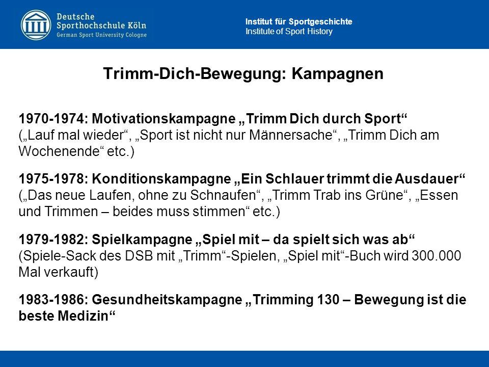 """Institut für Sportgeschichte Institute of Sport History Trimm-Dich-Bewegung: Kampagnen 1970-1974: Motivationskampagne """"Trimm Dich durch Sport"""" (""""Lauf"""