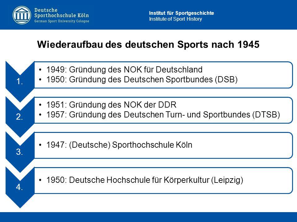 Institut für Sportgeschichte Institute of Sport History 1. 1949: Gründung des NOK für Deutschland 1950: Gründung des Deutschen Sportbundes (DSB) 2. 19