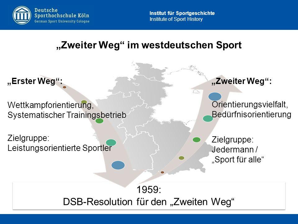 """Institut für Sportgeschichte Institute of Sport History 1959: DSB-Resolution für den """"Zweiten Weg"""" 1959: DSB-Resolution für den """"Zweiten Weg"""" """"Zweiter"""