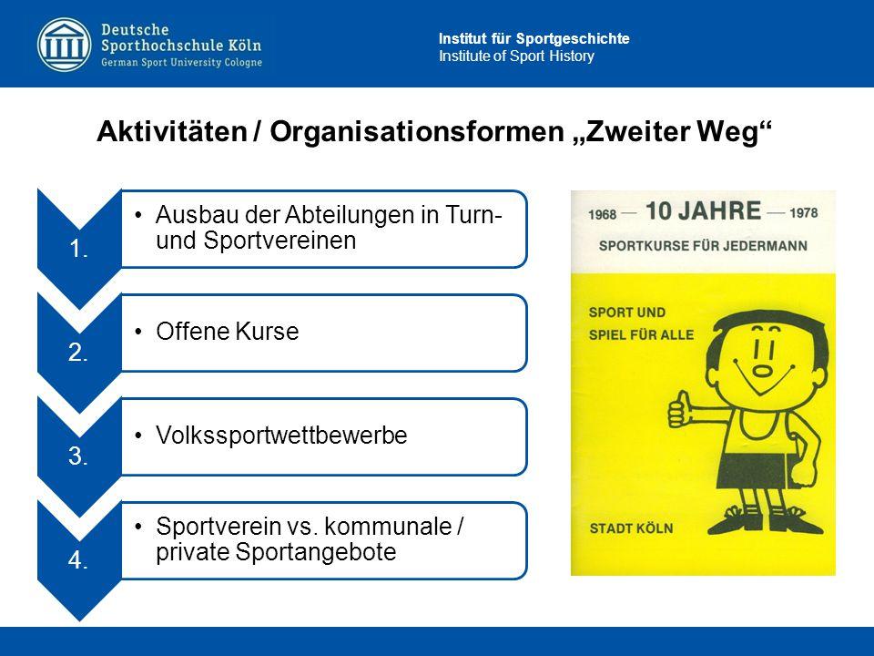 """Institut für Sportgeschichte Institute of Sport History Aktivitäten / Organisationsformen """"Zweiter Weg"""" 1. Ausbau der Abteilungen in Turn- und Sportve"""