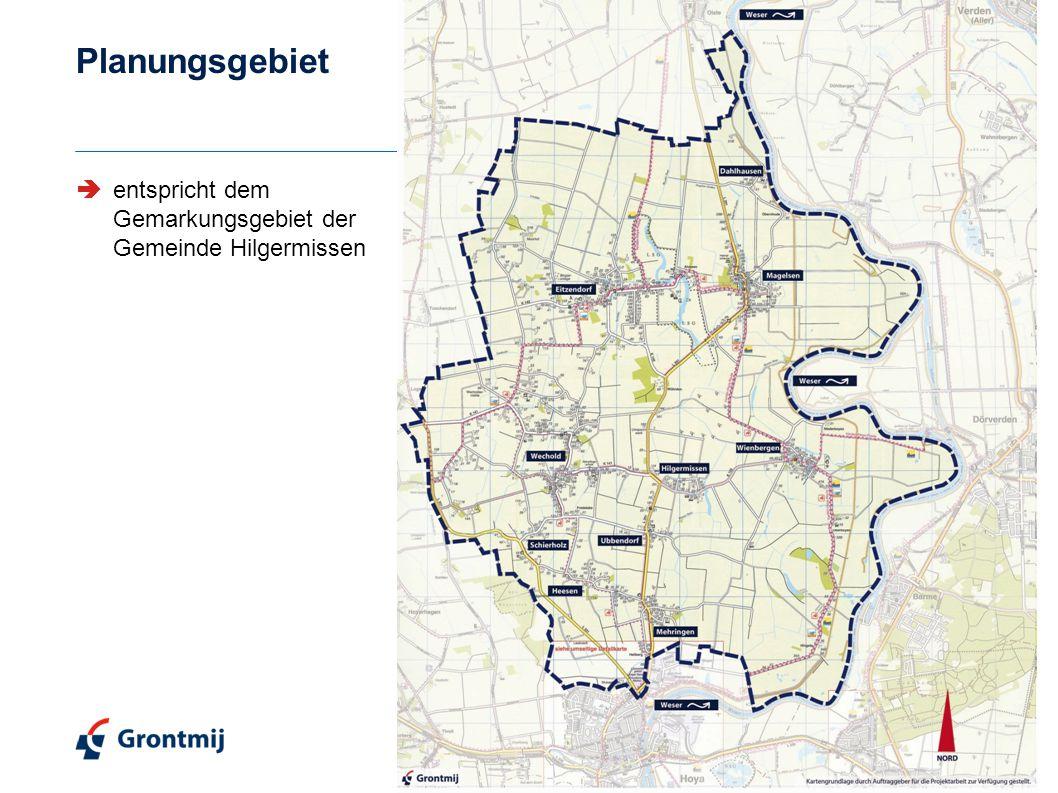 Planungsgebiet  entspricht dem Gemarkungsgebiet der Gemeinde Hilgermissen