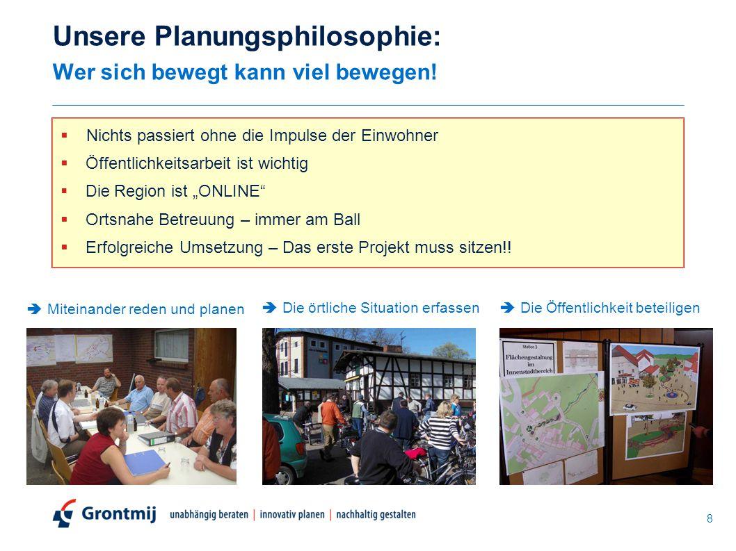 Unsere Planungsphilosophie: Wer sich bewegt kann viel bewegen!  Nichts passiert ohne die Impulse der Einwohner  Öffentlichkeitsarbeit ist wichtig 