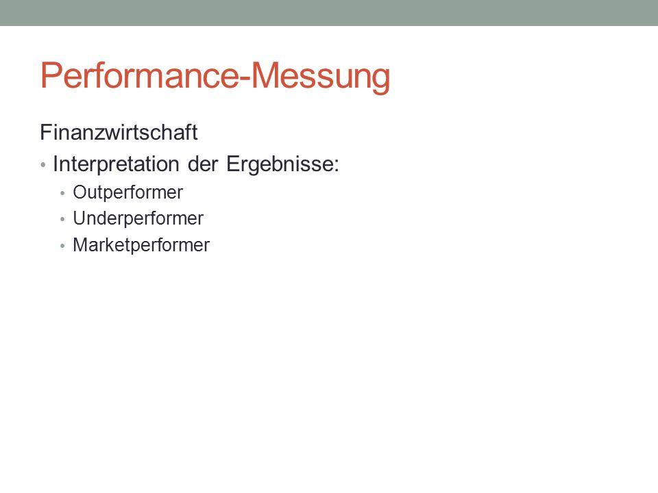 Performance-Messung Finanzwirtschaft Überblick der Unterscheidungen: Klassische Kennzahlen: ROI ROE ROA...