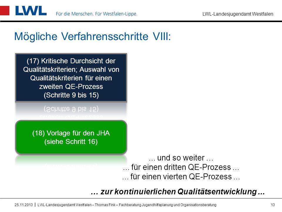 LWL-Landesjugendamt Westfalen I Mögliche Verfahrensschritte VIII: 1325.11.2013LWL-Landesjugendamt Westfalen – Thomas Fink – Fachberatung Jugendhilfepl