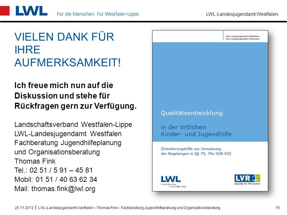 LWL-Landesjugendamt Westfalen I VIELEN DANK FÜR IHRE AUFMERKSAMKEIT! Ich freue mich nun auf die Diskussion und stehe für Rückfragen gern zur Verfügung