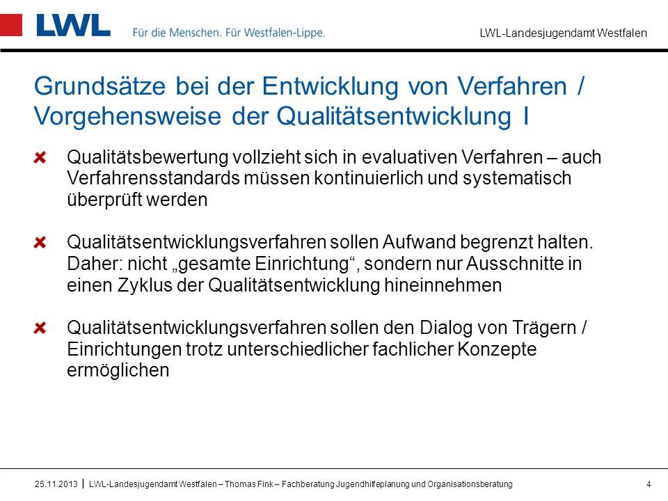 """LWL-Landesjugendamt Westfalen I Grundsätze bei der Entwicklung von Verfahren / Vorgehensweise der Qualitätsentwicklung II Qualitätsentwicklung soll als ein gemeinsames Lernfeld erlebt und ausgestaltet werden, nicht primär als Kontrollmechanismus Vorsicht gegenüber dem Begriff """"Standards ."""