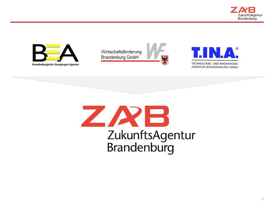 """3 2001  Zusammenschluss WFB, T.IN.A und BEA  Ansiedlung / Bestandsentwicklung / Außenwirtschaft / Innovationsförderung/ Energieberatung unter einem Dach  Partnerschaft mit ILB und BC 2003  Ausrichtung der Struktur auf Branchenteams 2004  Stärkung Standortmarketing 2005  Kooperationsvereinbarung ZAB und Berlin Partner (WFBI)  Gemeinsame Businessmarke Capital Region  """"Stärken stärken entspricht Positionierung ZAB 2006  Landesinnovationskonzept  Netzwerke 2007  Innovationsgipfel  Kooperationsvereinbarung ZAB und TS 2008  Airport Region Team / Büro in Schönefeld  Stabilisierung als Zusatzaufgabe 2009  Umsetzung Energiestrategie als Zusatzaufgabe 2010  Bereich ZAB Energie  ExpoCenter Airport Berlin Brandenburg GmbH 2011  Clusterentwicklung 2013  Aufbau Servicepakete  Thema Fachkräfte 2014  Brandenburg Business Guide  ZAB Arbeit Entwicklung der ZAB"""