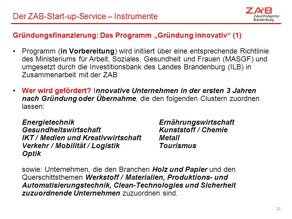 """Der ZAB-Start-up-Service – Instrumente Gründungsfinanzierung: Das Programm """"Gründung innovativ"""" (1) Programm (in Vorbereitung) wird initiiert über ein"""