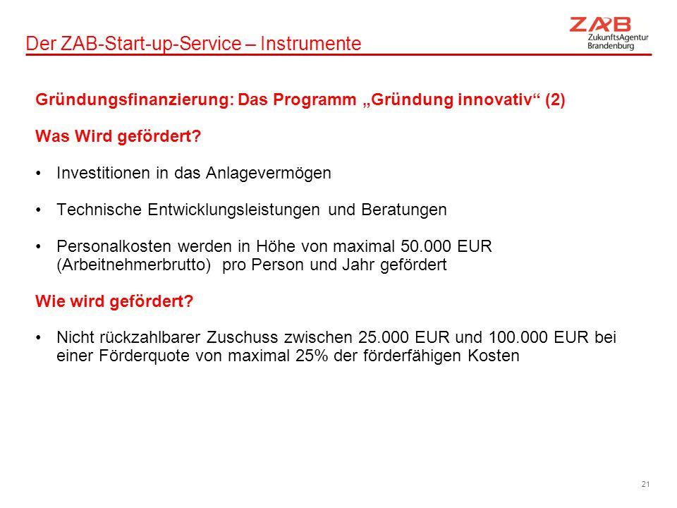 """Der ZAB-Start-up-Service – Instrumente Gründungsfinanzierung: Das Programm """"Gründung innovativ"""" (2) Was Wird gefördert? Investitionen in das Anlagever"""
