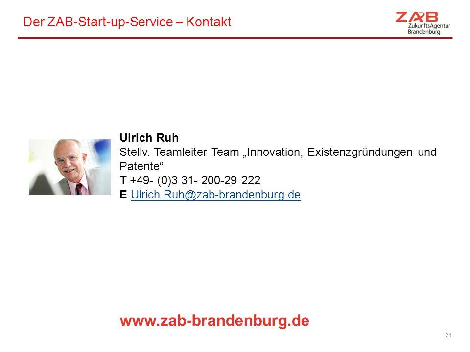 """Der ZAB-Start-up-Service – Kontakt 24 Ulrich Ruh Stellv. Teamleiter Team """"Innovation, Existenzgründungen und Patente"""" T +49- (0)3 31- 200-29 222 E Ulr"""