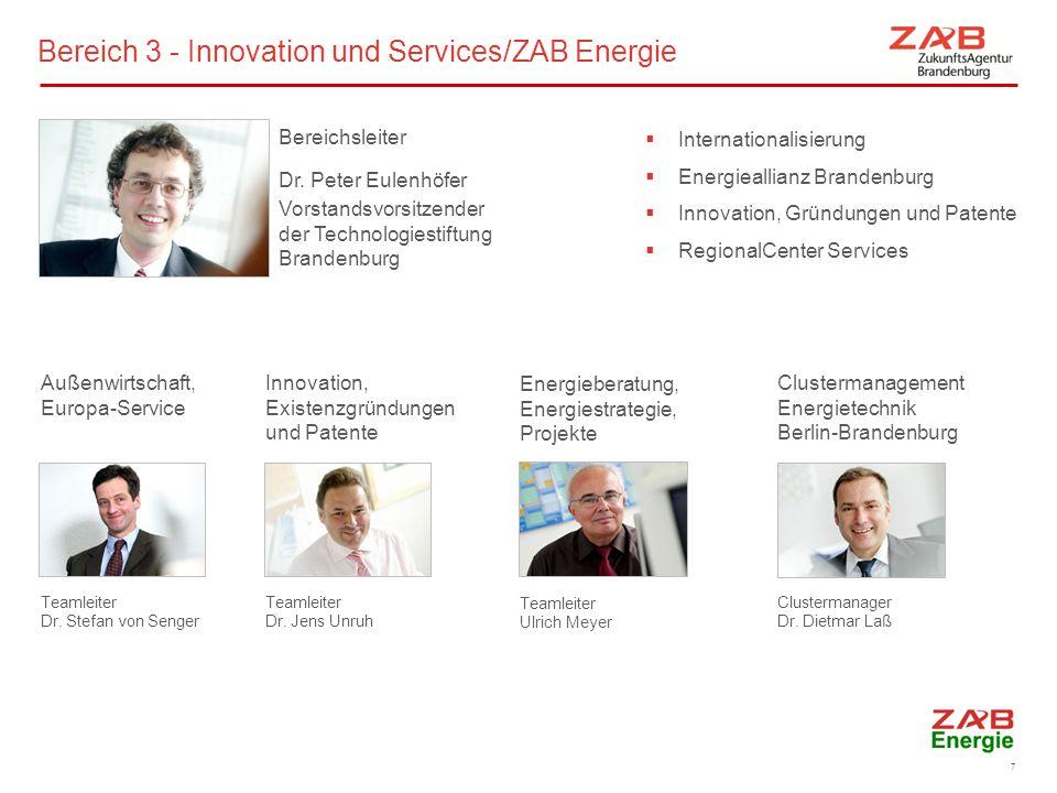 Energieberatung, Energiestrategie, Projekte Teamleiter Ulrich Meyer Außenwirtschaft, Europa-Service Teamleiter Dr. Stefan von Senger Clustermanagement